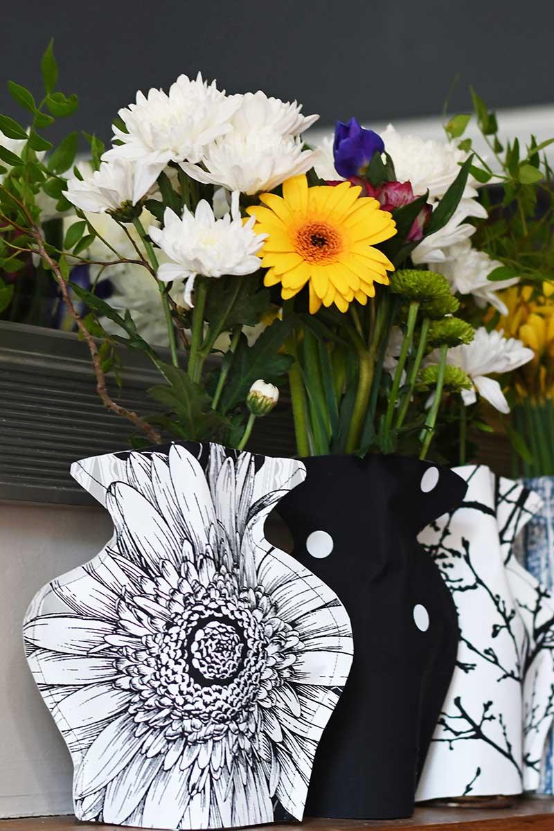Trio of Monochrome paper vases