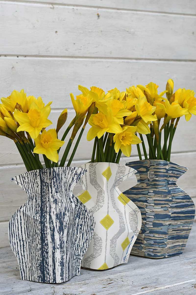 Blue paper vases