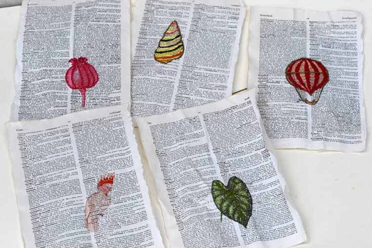 Embroidery on paper dictionary art