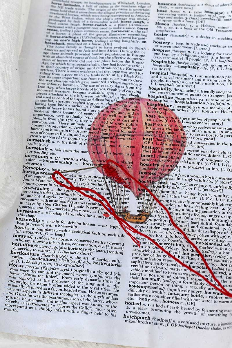 embroidery on paper hot air balloon dictionary art