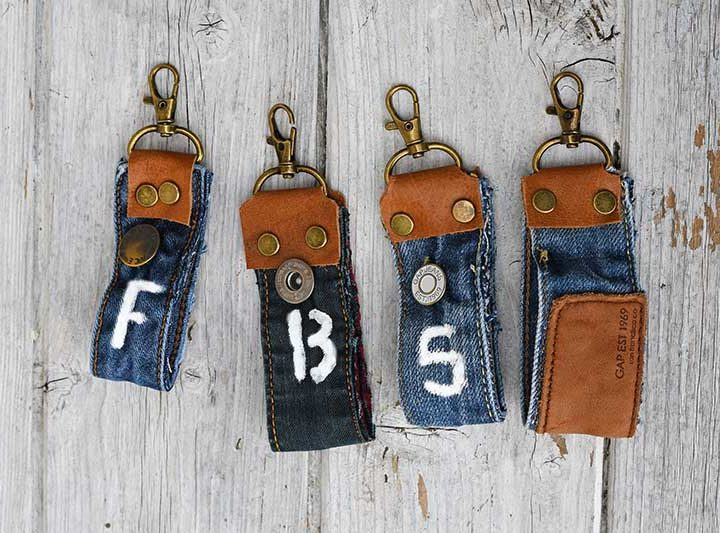 Upcycled jeans fabric key fobs