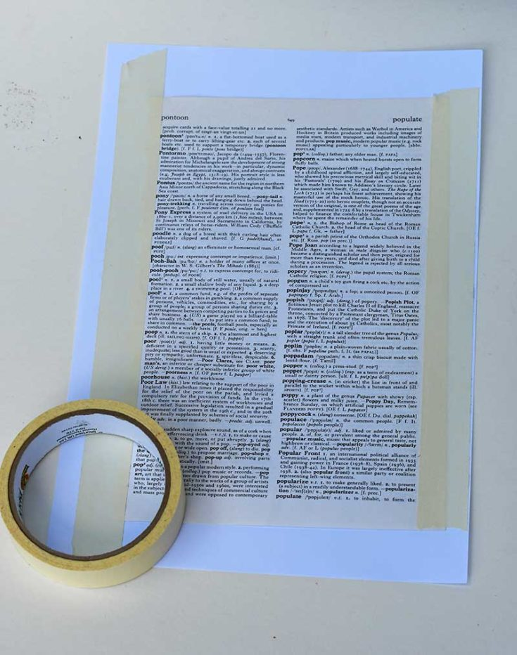 taping dictionary page to paper