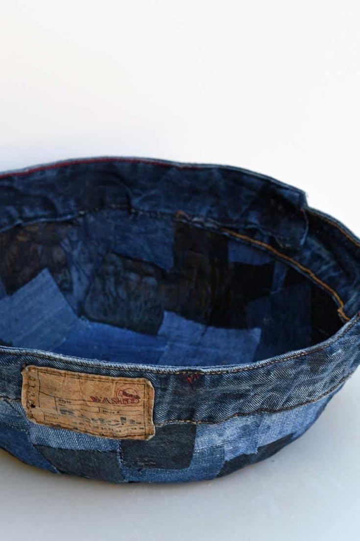 denim patchwork bowl