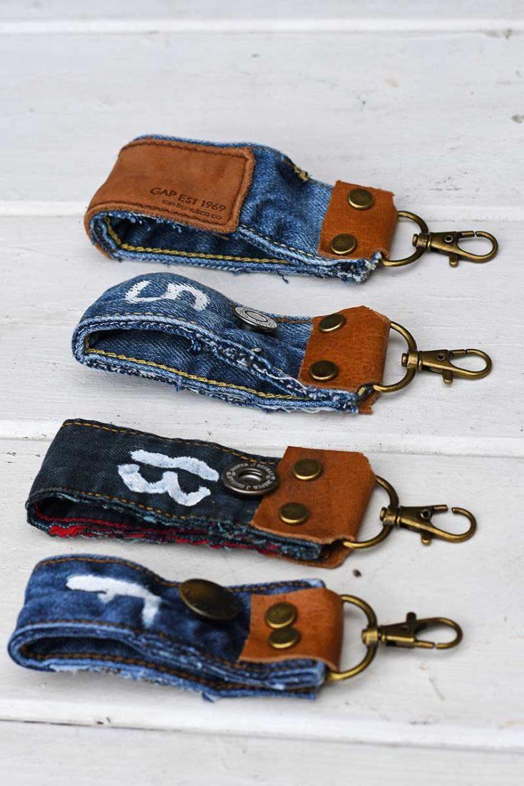 upcycled denim fabric key fobs