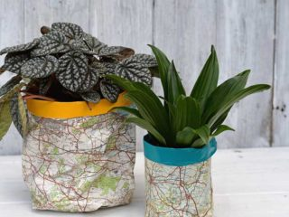 DIY plant pot covers from maps