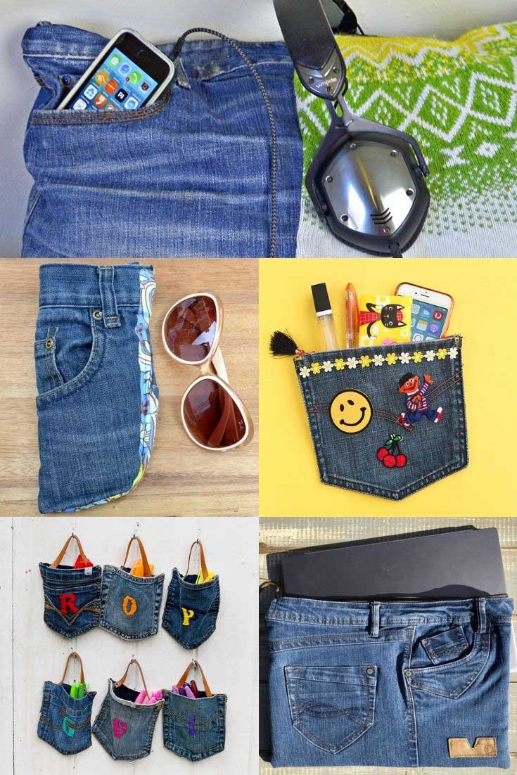 Pocket upcycles from one pair of jeans