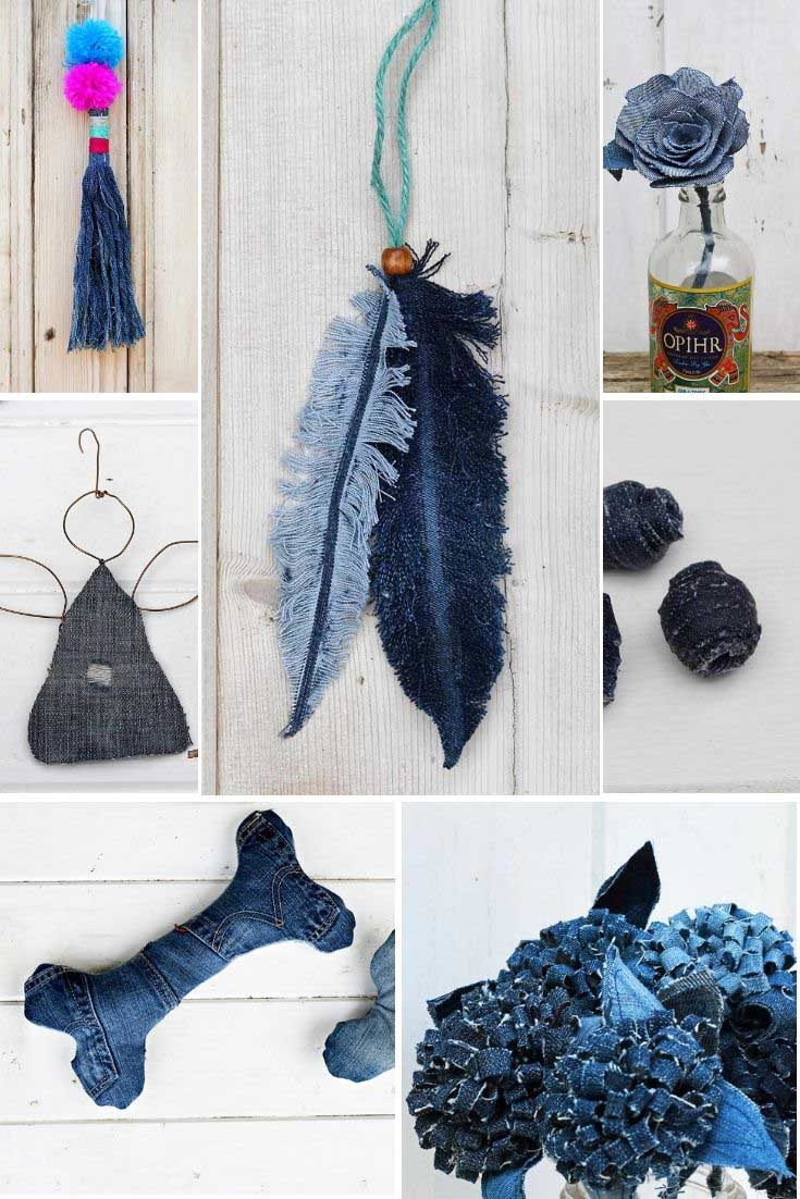 Upcycled old jeans fabric scraps