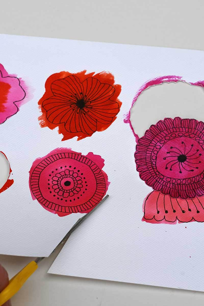 cutting out the flowers