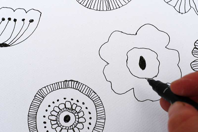Marimekko inspired floral doodles