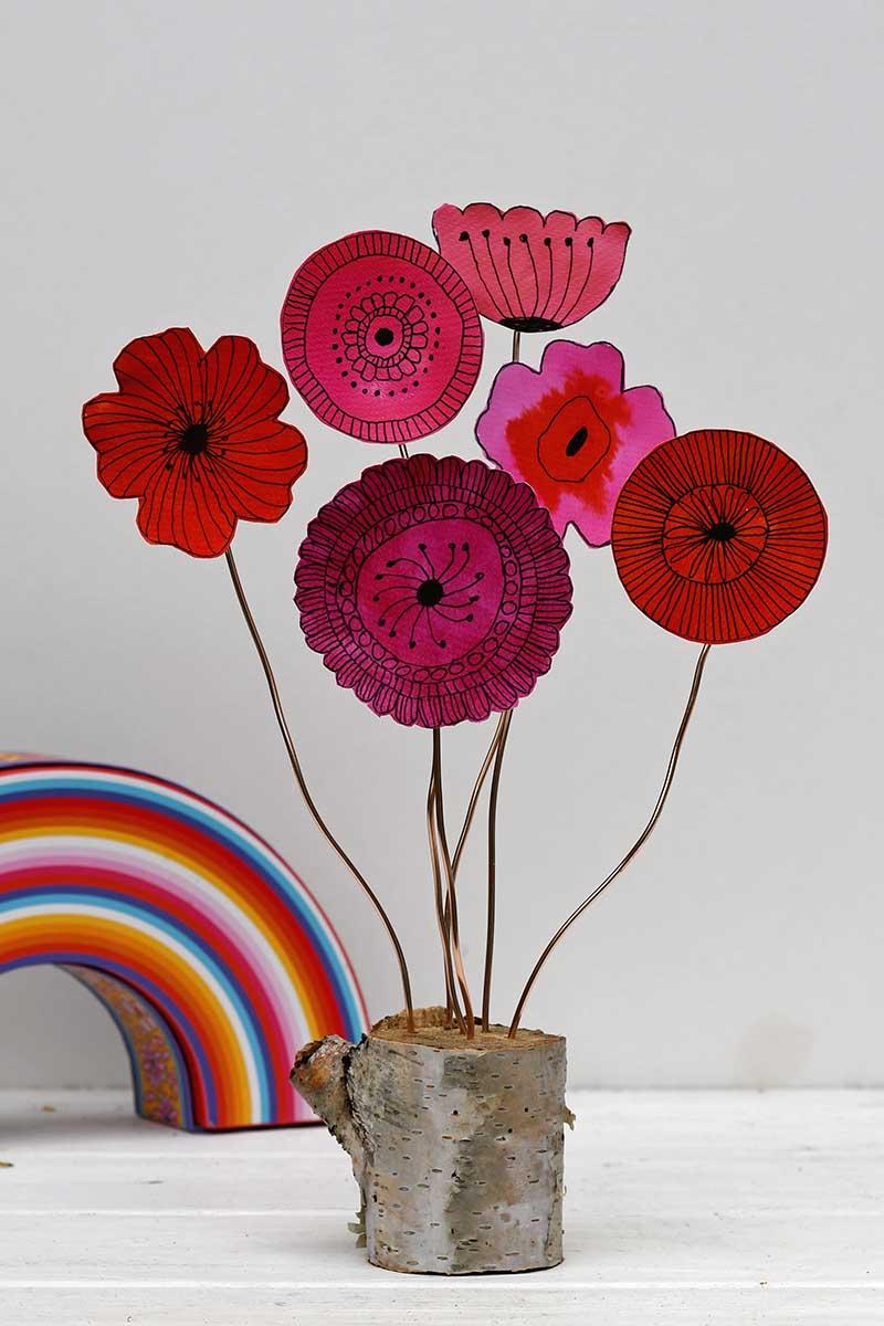 floral doodle flower paper decoration
