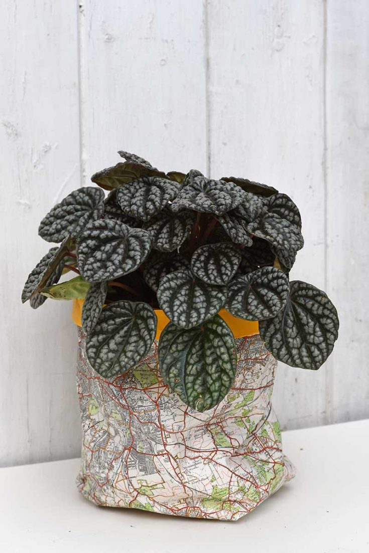 DIY plant pot cover from maps