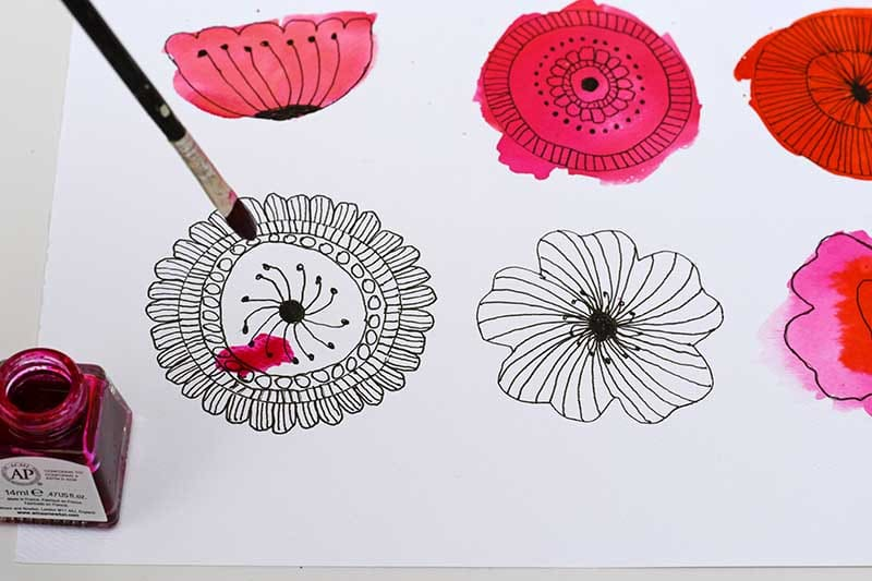 painting flower doodles