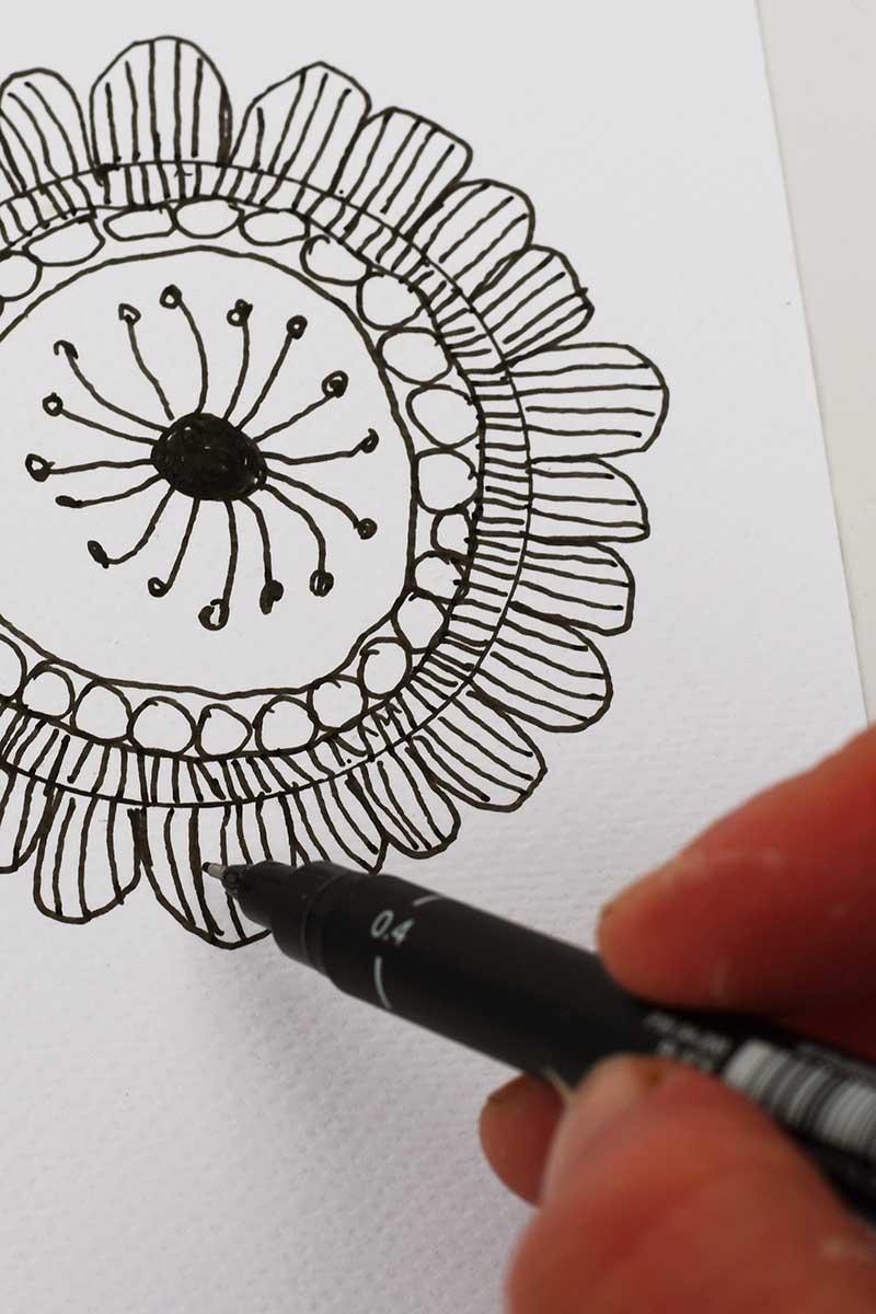 scandi doodle flower art
