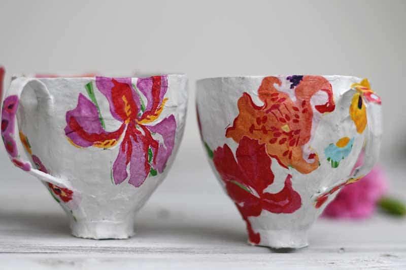 Paper mache tea cups