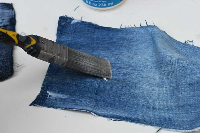 Pasting the denim with Mod Podge