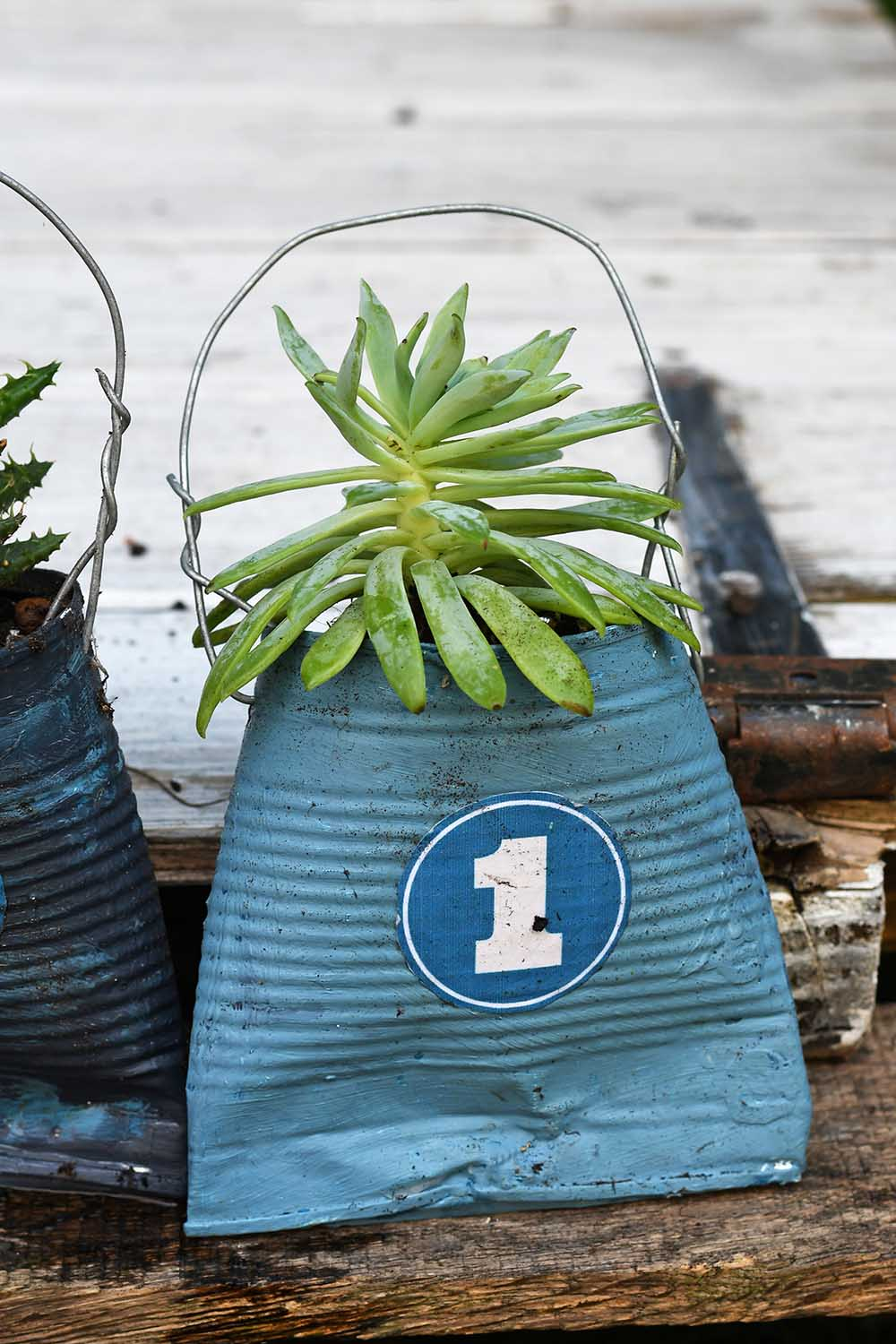 Hanging tin can numbered planter