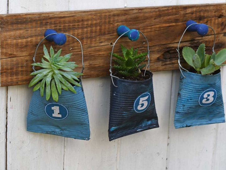hanging tin and soda can planters