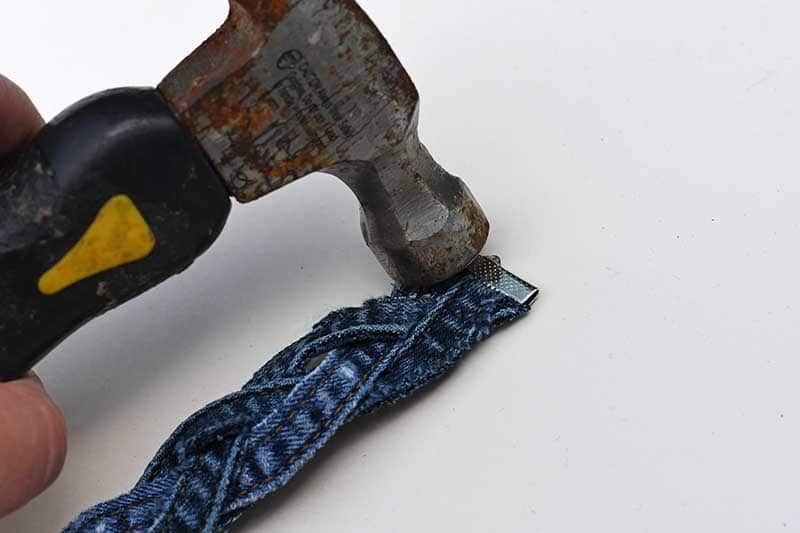 securing the ribbon grip to denim bravelet