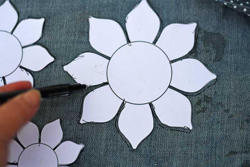 making denim sunflowers