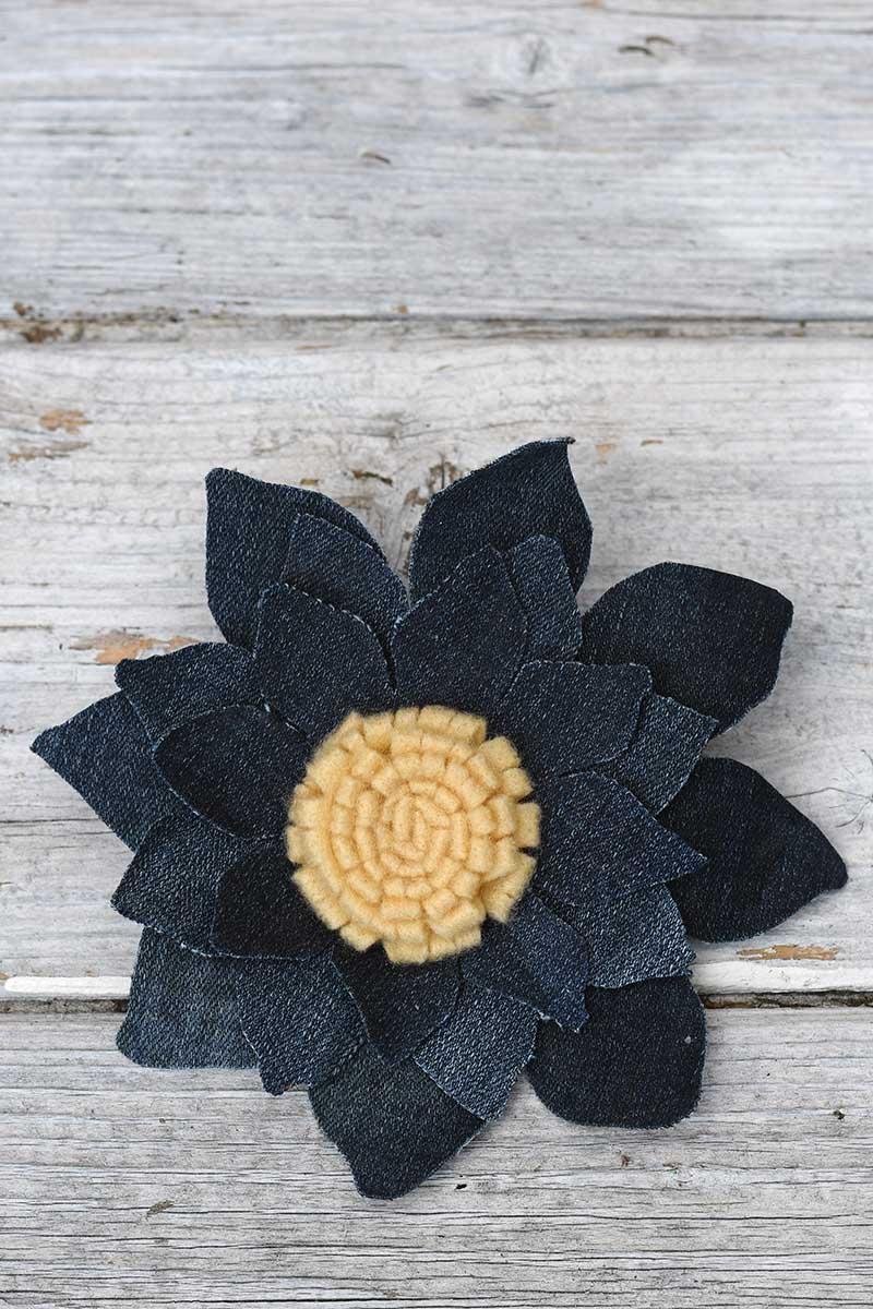 denim sunflower corsage