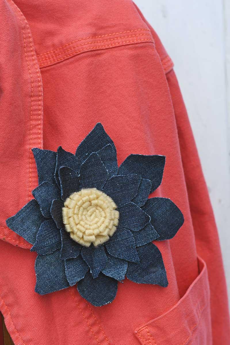 Fabric sunflower broach